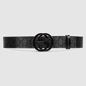GUCCI Black FU49X GG Imprimé belt with interlocking G clasp 90/36 Imprime