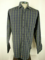 Thomas Dean Mens L/S Shirt Size Large Blue Green Red Stripe Floral Flip Cuff