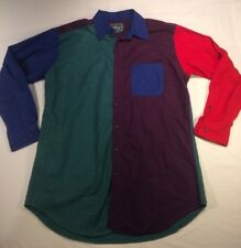 Vtg Woolrich Color Block Unique Thick Comfortable Button Down Shirt Size Large