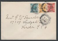 1923 Palestine stamps on three colour franking cover to Ludgate Hill London GB
