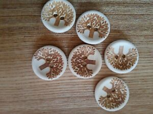 6 High Quality Tree of Life engraved Wooden Buttons