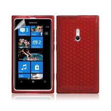 Housse étui coque gel pour Nokia Lumia 800 motif diamant couleur rouge transluci