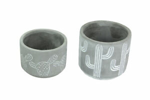 Set of 2 Whitewashed Cactus Design Concrete Mini Planters Prickly Pear and