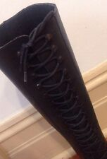 Designer Novasuole Knee High Laceup Lace Up Black Leather Boots 40