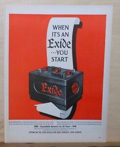 1948 magazine ad for Exide Car Batteries - Exide battery picture, 1888-1948