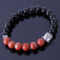 Mens Women Buddha Bracelet Black Obsidian Red Jasper Stone Sterling Silver Beads
