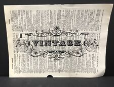 Vintage Sign Dictionary Page Print Picture Wall Art Gift Reclaimed Book Pages