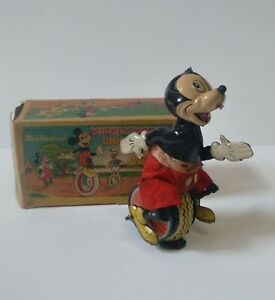 Linemar Tin Wind Up Mickey Mouse Unicycle in  Original Box. Walt Disney Product
