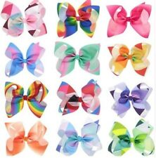 "Jo-Jo Style cheer / casual 6"" Rainbow alligator clip hair bows BUY 2 GET 1 FREE"