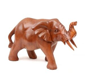 Wooden Elephant Carving Genuinely Hand Carved Animal 15cms Gift Idea