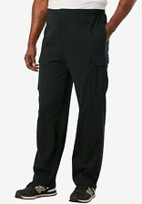 $59 NWOT KING SIZE Mens Sz 3XL Tall Black Heavy Fleece Cargo Sweatpant 293