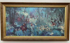 """Leroy Neiman """"The Hunt of the Unicorn"""" Print on Canvas 1967 Horse Equestrian"""