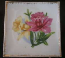 "Hand painted Porcelain Square Shape Pin Dish  9x9cm signed ""Foreign"" ."