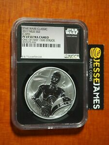2017 $2 NIUE SILVER C3PO STAR WARS NGC PF69 ULTRA CAMEO 1 OF 1ST 1500 STRUCK