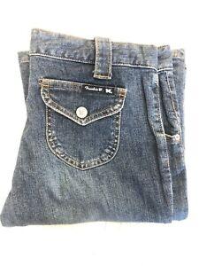 FRANKIE B Women's  Slim FLARED/boot Cut Dark Blue Jeans Snap Back Pocket SZ:8x34