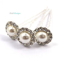 Bridal Wedding Vintage Style Crystal Diamante & Pearl Large Hair Pins Clips HP10