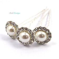 Bridal Wedding Vintage Style Crystal Diamante & Pearl Large Hair Pins Clips HP10