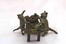 MAGNIFICENT 1900 AUSTRIAN BERGMAN BRONZE, 2 CATS AT THE TABLE WITH FOOD SIGNED