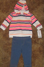 Girls Carter's NWT pant set with long sleeve striped hoodie size 3 months
