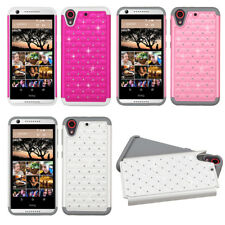 For HTC Desire 530 HYBRID IMPACT Dazzling Diamond Two Layered Phone Case Cover