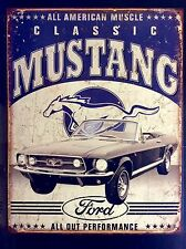 Rustic Ford Mustang Classic TIN SIGN vtg Wall Decor Muscle Car Garage 20x30 Cm