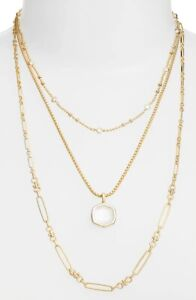 KENDRA SCOTT 217 Gold Ivory Mother of Pearl Davis Triple Multi Chain Necklace