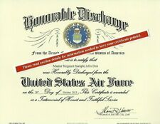 United States Air Force Honorable Discharge Replacement Certificate