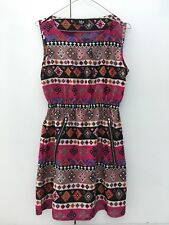ASOS Iska Aztec/Geometric Purple Pattern Silk Dress w/ Zip Pockets - Size 10/12