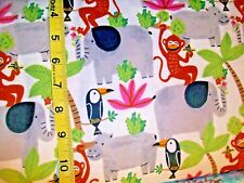 B187 Rain forest Friends on White Flannel Material New sold BTY