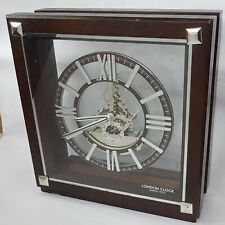 London Clock Company?Dark Wooden & Silver Finish Skeleton Mantle Clock