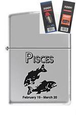 Zippo 9284 horoscope pisces Lighter with *FLINT & WICK GIFT SET*