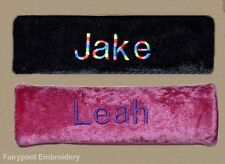 Two Personalised Car Seat Belt Covers Pads - 1 x black pad and 1 x hot pink pad