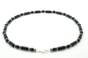 Mens Bead Necklace Onyx and Hematite with 925 Sterling Silver Clasp Handmade
