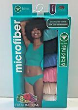 Fruit of the Loom Women's 6 Pack Microfiber Bikini Panties Assorted Underwear L
