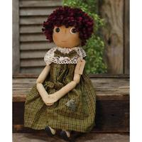 Primitive BECKY DOLL Country Farmhouse Fabric Folk Art Collectible Farmhouse Rag