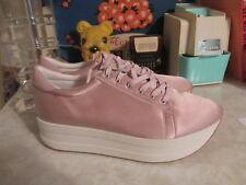 Womens Vagabond Casey Pink Platform Fashion Wedge Shiny Satin Sneaker US 10 EU40
