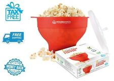 New Red Popcorn Popper Bowl Collapsible Silicone Microwave Hot Air Popping Maker