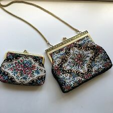 Vintage Embroidery Bag And Purse Clutch Beautiful Floral Gold Coin Pouch Prom