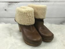 Ugg Chestnut Brown Lynnea Leather Clog Boots Sz 10 1958 Sherpa Lined Fold over