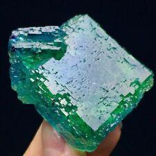 64g Complete Transparent Ladder Surface Deep Green/Blue Cubic Fluorite Crystal