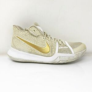 Nike Mens Kyrie 3 852395-902 White Yellow Basketball Shoes Lace Up Size 9.5
