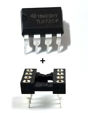 1PCS Texas Instruments TL072CP + Socket Low Noise JFET Dual Op-Amp DIP-8 New IC