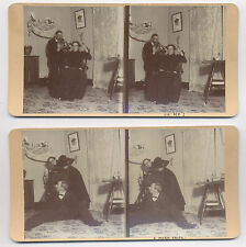 1880's COMICAL STEREOVIEWS, MAN W/ BUGLE IN WOMAN'S EAR, WOMAN TIPS OVER CHAIR