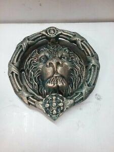 Large Vintage Cast Iron Lion Head Door Knocker