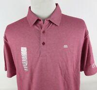 NEW Travis Mathew Prestige 77 XL Golf Polo Shirt Solid Red Pink CCV Church