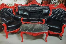 SET BAROQUE STYLE SOFA SET - SOFA + TWO ARMCHAIRS - RED/BLACK # MB10