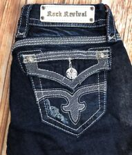 BUCKLE WOMENS ROCK REVIVAL MAGGIE BOOT STRETCH EMBELLISHED JEANS 26 FITS 27 X 32