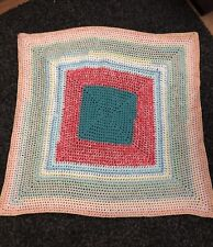 """Hand Made Small Crochet Blanket Thick Warm 39"""" X 39"""" Multicoloured"""