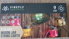 8 X MASON Jar LED outdoor garden solar string lights vintage/retro 24 LED'S