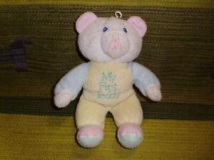 "Dan Dee plush pastel My First Teddy Bear rattle terry cloth stuffed baby toy 10"""
